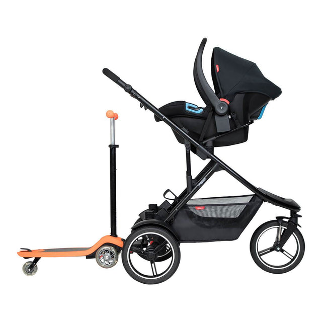 phil&teds dash inline buggy with alpha travel system and freerider in rear