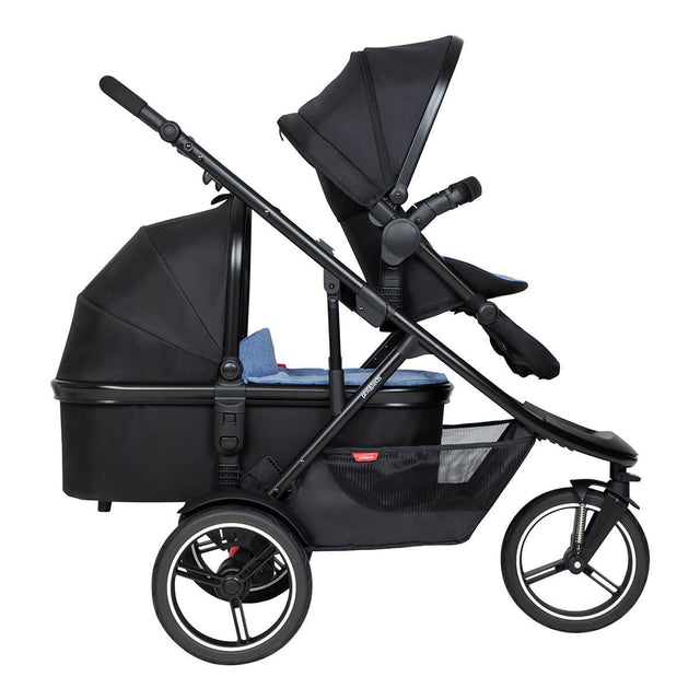 phil&teds dash inline buggy with double kit in front and snug carrycot in rear