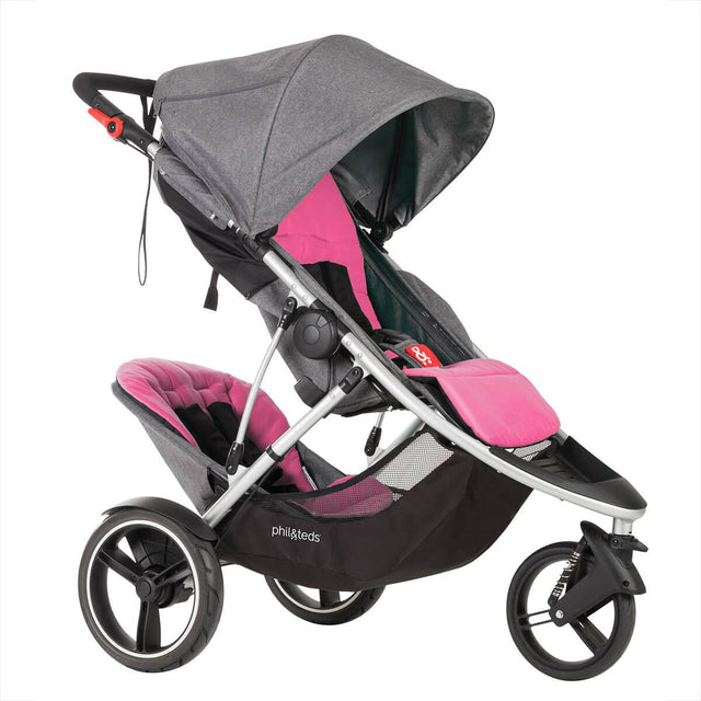 phil&teds dash luxury lightweith stroller with front and rear pink liners 3qtr view_pink