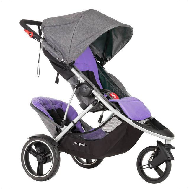 phil&teds dash luxury lightweith stroller with front and rear purple liners 3qtr view_purple