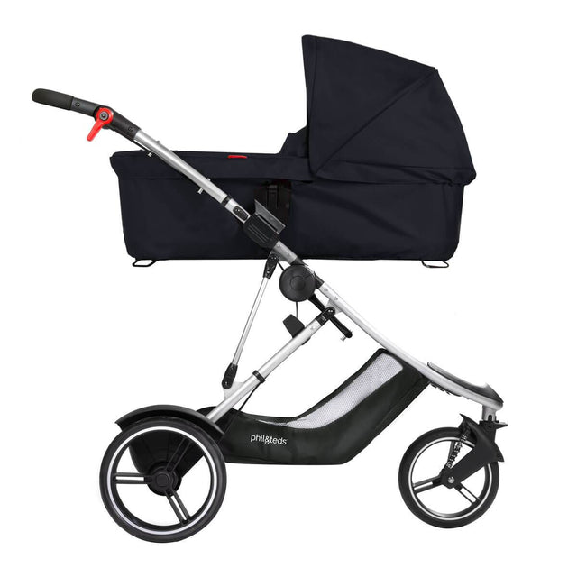 phil&teds dash buggy with snug carrycot side view_black
