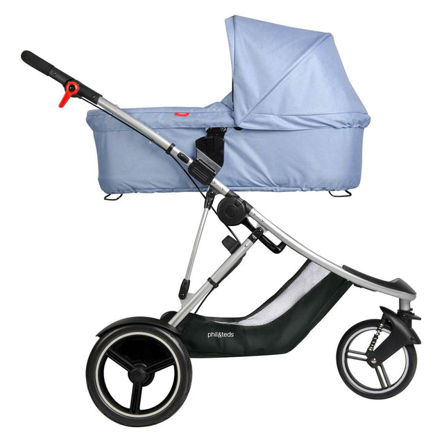 phil&teds dash buggy with snug carrycot side view_blue marl