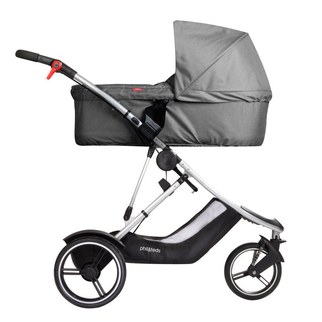 phil&teds dash buggy with snug carrycot side view_grey marl