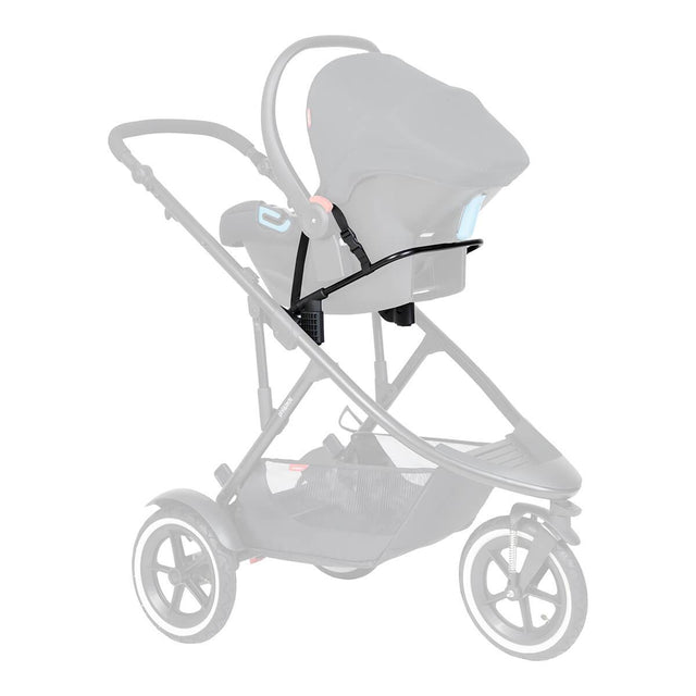phil&teds universal car seat adaptor shown with car seat attached to buggy 3/4 view_default