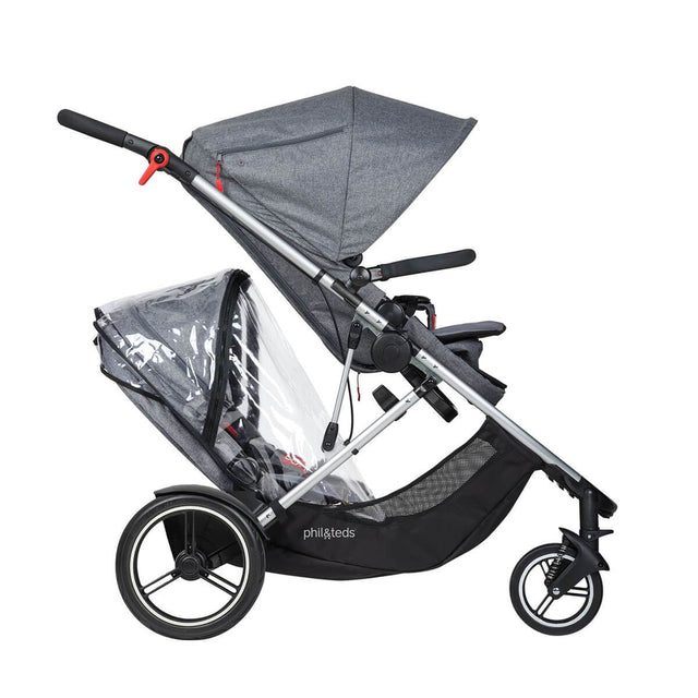 phil&teds voyager adaptable modular stroller charcoal grey with double kit storm cover side view_default