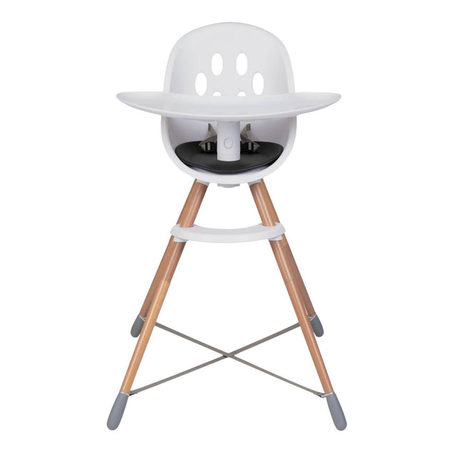 phil&teds award winning poppy wooden legged high chair with food tray shown from front_black seat liner