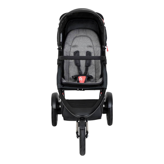 phil&teds dash buggy in charcoal front view_charcoal