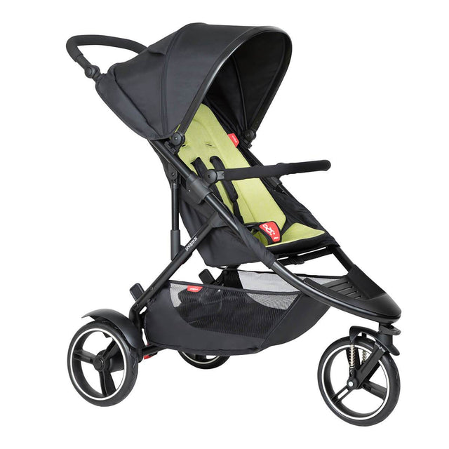 phil&teds dot buggy with apple liner 3/4 view_apple