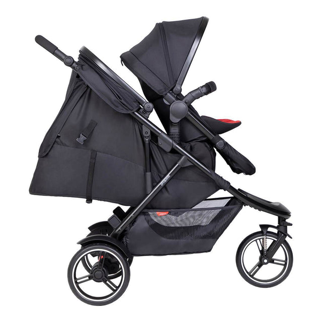 phil&teds dot inline buggy with parent facing double kit and cocoon in rear