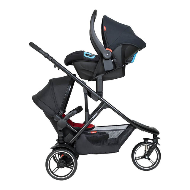 phil&teds dot buggy with parent facing car seat and double kit seat in rear