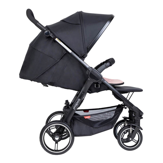 phil&teds compact smart buggy with blush liner in fully reclined position side view_blush