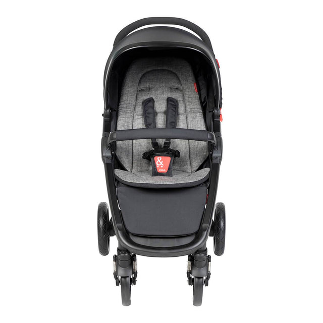 phil&teds compact smart buggy with charcoal liner front view_charcoal
