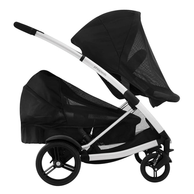 phil&teds promenade buggy double kit lying flat in lower position with sun mesh covers side view_black