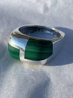 Malachite and Sterling Silver Ring, Sz. 9