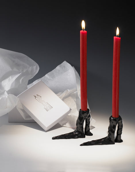 Black Hot Legs Candlesticks by Laura Welker