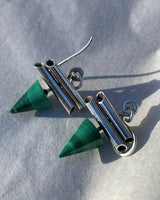 Malachite Cone Pendant Earrings