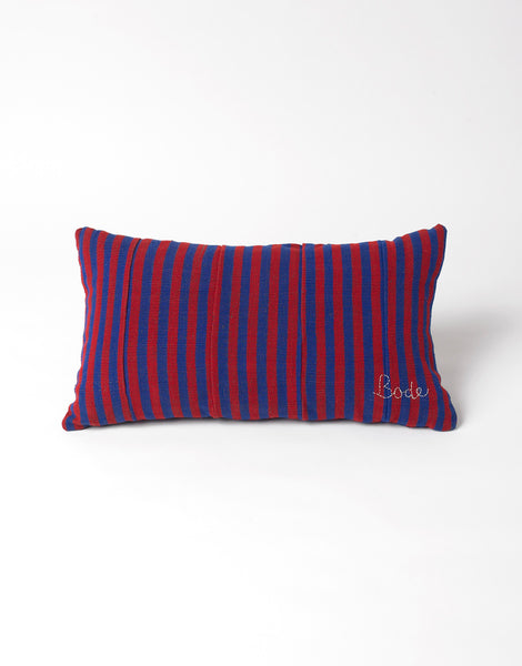 Bode Small Red and Blue Country Cloth Pillow