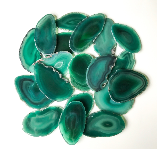 "Green Agate Place Cards 2.5""-3.75"" Blank Geode Wedding Crystals Placecards Bulk Agate Slices Wholesale Geodes"