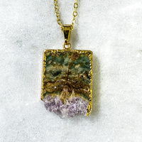Amethyst Geode Slice Necklace - Gold Plated - Crystal Pendant Jewelry Quartz