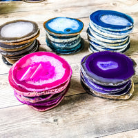 "Blue Agate Coasters 3.0-3.5"" Bulk Small Geode Round Slices Wholesale Wedding Favors Stones Blank"