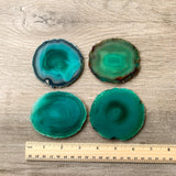 "Green Agate Coasters 3.0-3.5"" Bulk Small Geode Round Slices Wholesale Wedding Favors Stones Blank"