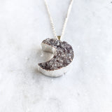 Amethyst Druzy Crescent Moon Necklace - Silver Plated - Geode Necklace Crystal
