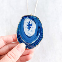 Blue Agate Slice Pendant - Silver Plated - Blue Agate Necklace - Jewelry Geode Quartz Crystals Boho