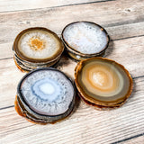 "Natural Agate Coasters 3.0-3.5"" Bulk Small Geode Round Slices Wholesale Wedding Favors Stones Blank"
