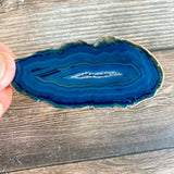 "Set of 4 Blue Agate Slices: ~2.7 - 3.0"" Long w/ Quartz Crystal Geode Centers"