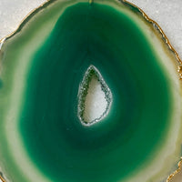 Green Quartz Crystal Druzy Agate Slice Necklace - Gold Plated - Stone Pendant