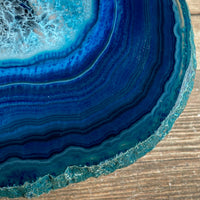 "Blue Agate Slice: Approx 4.75"" Long, Quartz Crystal Geode Stone - Large Agate Slice"