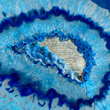 "Large Blue Agate Slice (Approx 6.15"" Long) w/ Crystal Druzy Geode Center - Large Agate Slice"