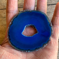 "Blue Agate Slice (Approx 2.9"" Long) with Quartz Crystal Druzy Geode Center"
