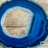 "Blue Agate Slice (Approx 2.85"" Long) with Quartz Crystal Druzy Geode Center"