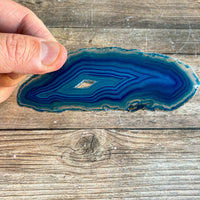 "Blue Agate Slice (Approx 4.45"" Long) with Quartz Crystal Druzy Geode Center"