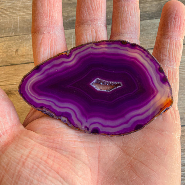 "Purple Agate Slice (Approx 3.45"" Long) with Crystal Druzy Geode Center"
