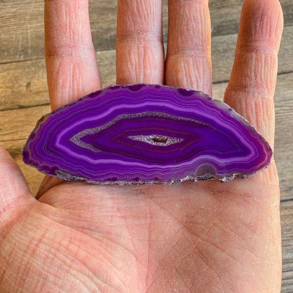 "Purple Agate Slice (Approx 3.6"" Long) with Crystal Druzy Geode Center"