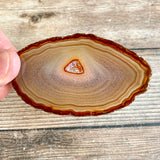 "Set of 4 Natural Agate Slices (~3.1 - 3.4"" Long) w/ Quartz Crystal Geode Centers"