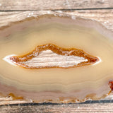 "Set of 4 Natural Agate Slices (~3.3"" Long) w/ Quartz Crystal Geode Centers"
