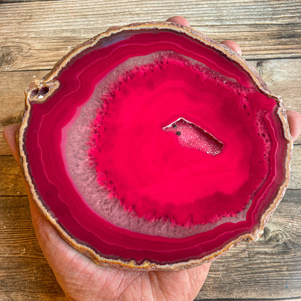 "Large Pink/Fushsia Agate Slice (Approx 6.3"" Long) w/ Quartz Crystal Druzy Geode Center - Large Agate Slice"