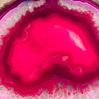 "Large Pink/Fushsia Agate Slice (Approx 6.55"" Long) w/ Quartz Crystal Druzy Geode Center - Large Agate Slice"