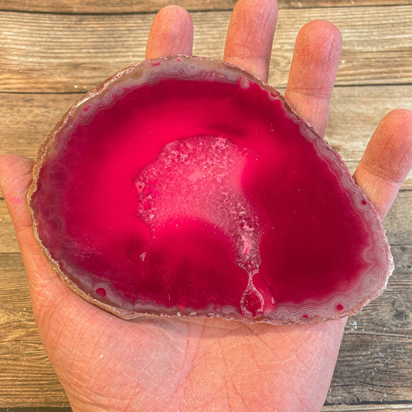 "Large Pink Agate Slice - Approx 5.25"" Long - Large Agate Slice"