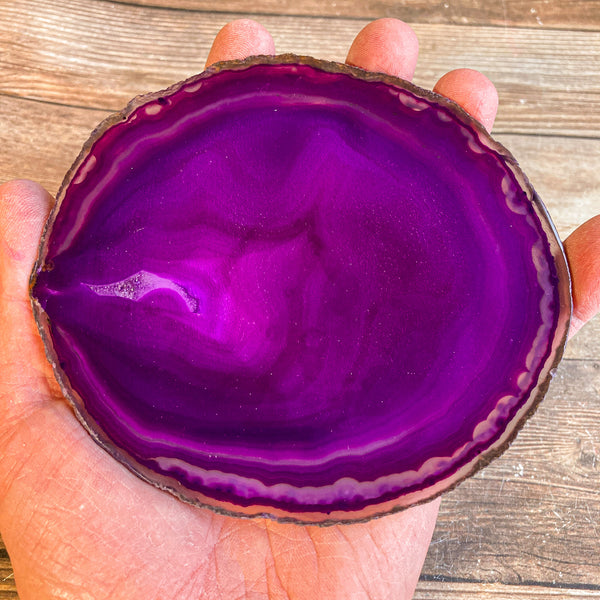 "Large Purple Agate Slice - Approx 4.95"" Long - Large Agate Slice"