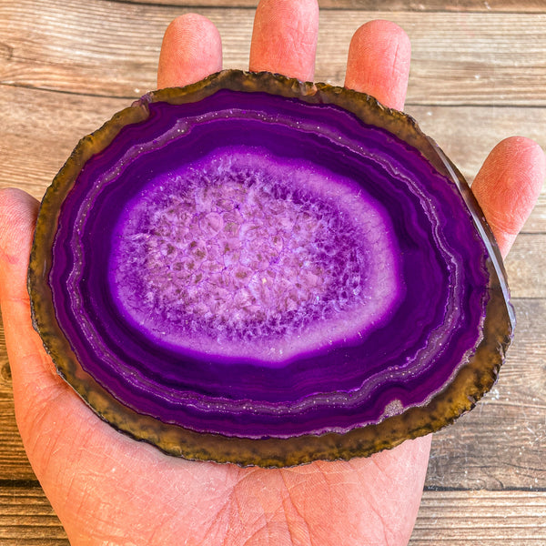 "Large Purple Agate Slice - Approx 5.05"" Long - Large Agate Slice"