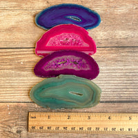 "Set of 4 Mixed Agate Slices: ~3.25 - 3.65"" Long w/ Quartz Crystal Geode Centers"