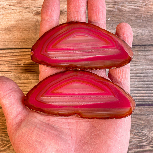 "Set of 2 Pink Agate Slices (Approx 3.7"" Long) Cut From Same Stone w/ Crystal Druzy Geode Center"