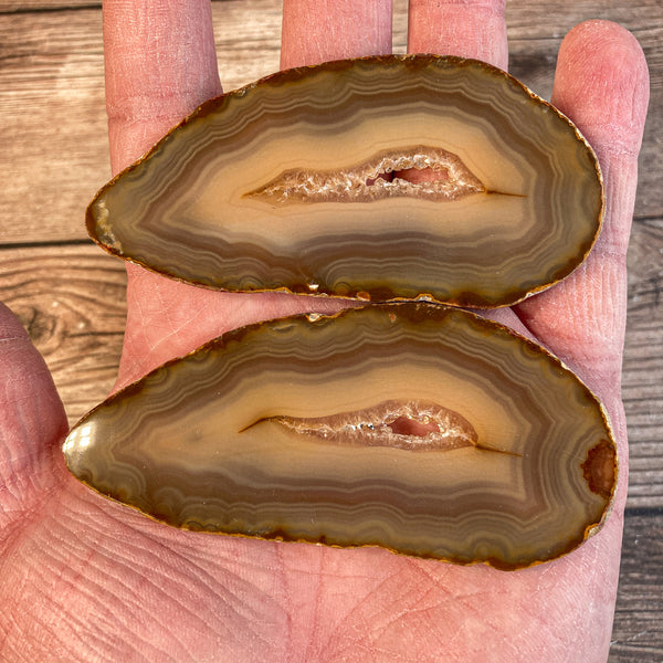 "Set of 2 Natural Agate Slices (Approx 3.3"" Long) Cut From Same Stone w/ Crystal Druzy Geode Center"