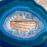 "Set of 2 Blue Agate Slices Cut From Same Stone (~2.7"" Long) w/ Quartz Crystal Geode Centers"