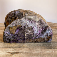 "Purple Agate Bookends: 3 lbs 5.9 oz, 6.5"" Wide, A Quality Quartz Crystal Geode Center Book End Mineral"