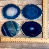 "Set of 4 Large Blue Agate Coasters (Approx. 3.95 - 4.25"" Long), Geode Quartz Crystal"